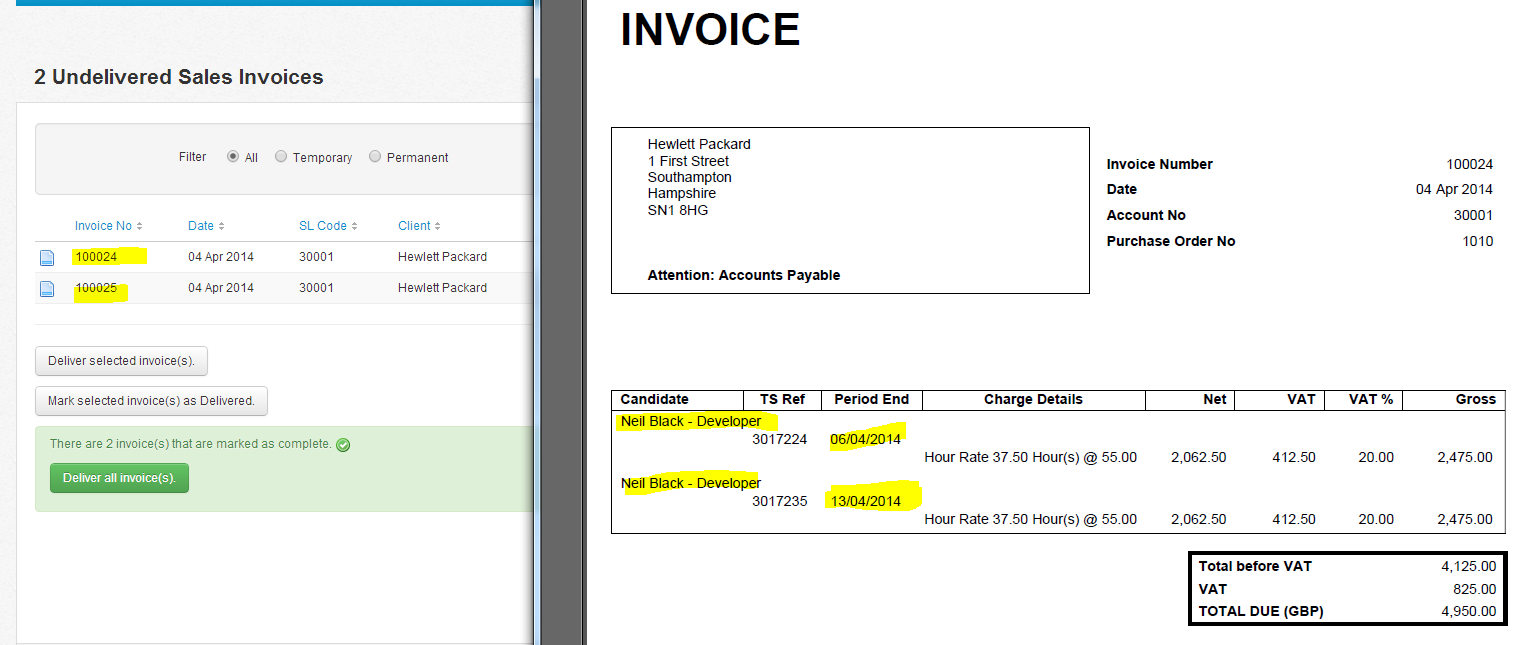 How Do I Set A Client To Ensure All Candidates Timesheets Appear On - Timesheet and invoice