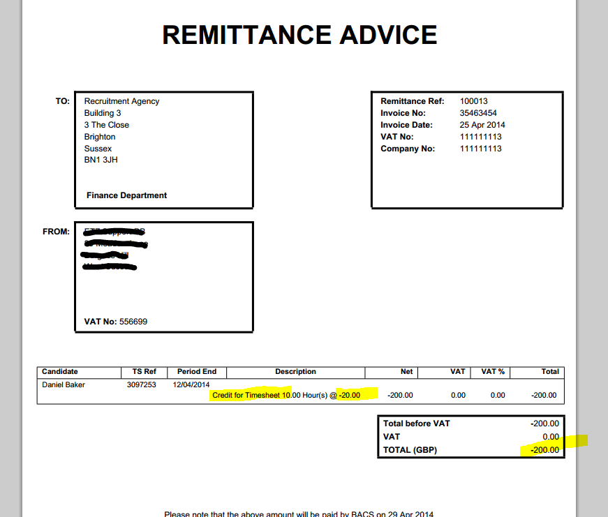 how to put a credit on an invoice
