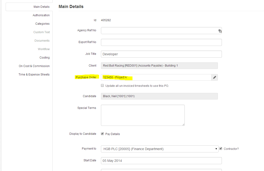how do i add a client cost centre reference to a sales invoice