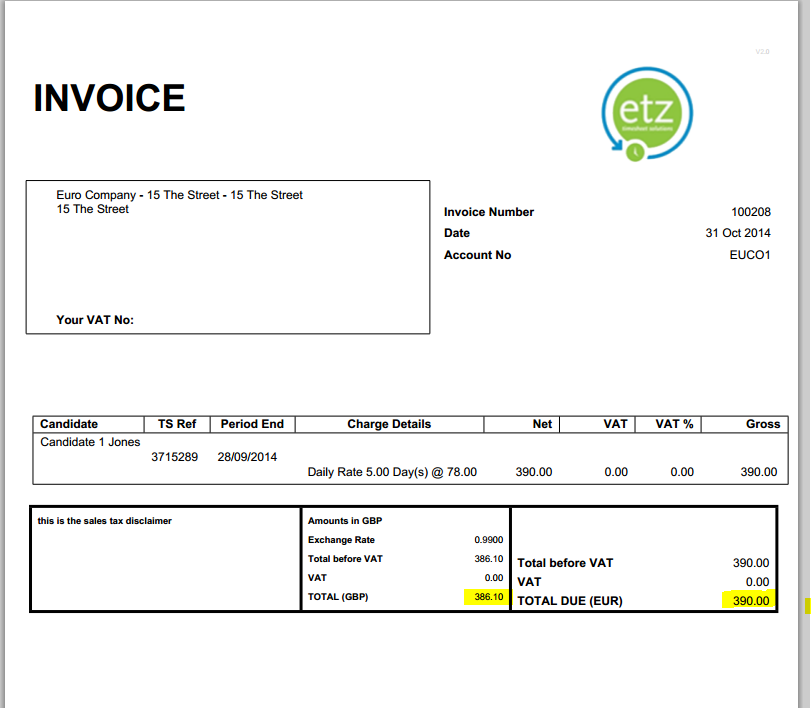 Posting Sales Currency Invoice Through To Xero Etz Technologies Ltd - Invoice value