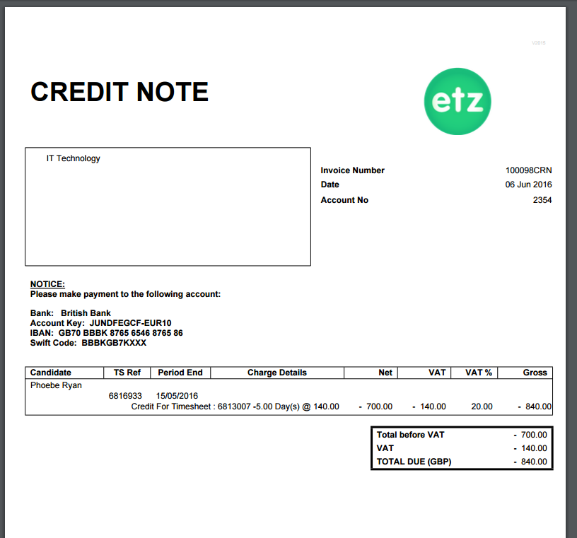 How to create a sales credit note etz technologies ltd this option will completely credit the full invoice with no partial credits altavistaventures Images